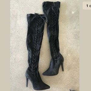 New Look Black Faux Suede Above Knee Boots Sz 8.5